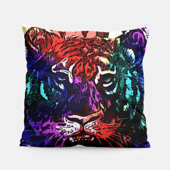 Thumbnail image of Rainbow Tiger Abstract Art Pillow, Live Heroes