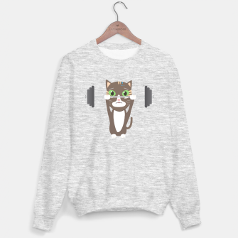 Thumbnail image of Fitness cat weight lifting   Sweater regular, Live Heroes