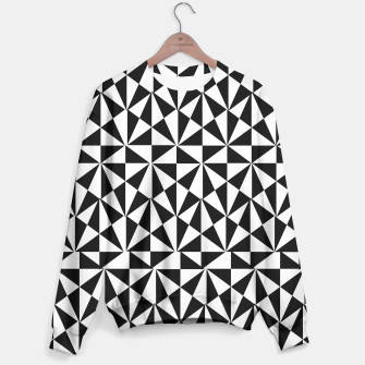 Thumbnail image of Geometric Bold Black White Funky Print Sweater, Live Heroes