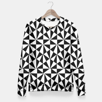Thumbnail image of Geometric Bold Black White Funky Print Fitted Waist Sweater, Live Heroes