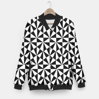Thumbnail image of Geometric Bold Black White Funky Print Baseball Jacket, Live Heroes