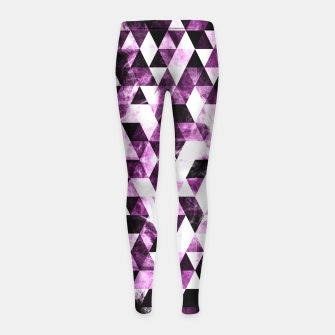 Triangle Geometric Vibrant Pink Smoky Galaxy   Girl's Leggings thumbnail image