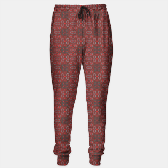"Thumbnail image of ""Find the rabbit"" abstract pattern in red tones Sweatpants, Live Heroes"