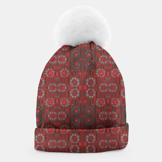 """Thumbnail image of """"Find the rabbit"""" abstract pattern in red tones Beanie, Live Heroes"""