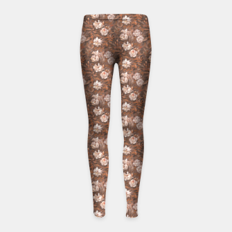 Thumbnail image of White roses, brown scale Girl's Leggings, Live Heroes