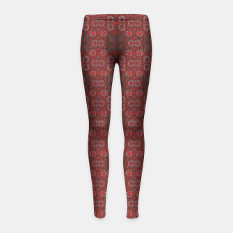 """Thumbnail image of """"Find the rabbit"""" abstract pattern in red tones Girl's Leggings, Live Heroes"""