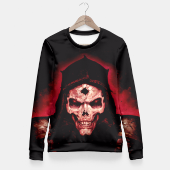 Thumbnail image of Burning Skull Fitted Waist Sweater, Live Heroes