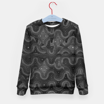 Thumbnail image of Black Sparkling Abstract Pattern  Kid's Sweater, Live Heroes