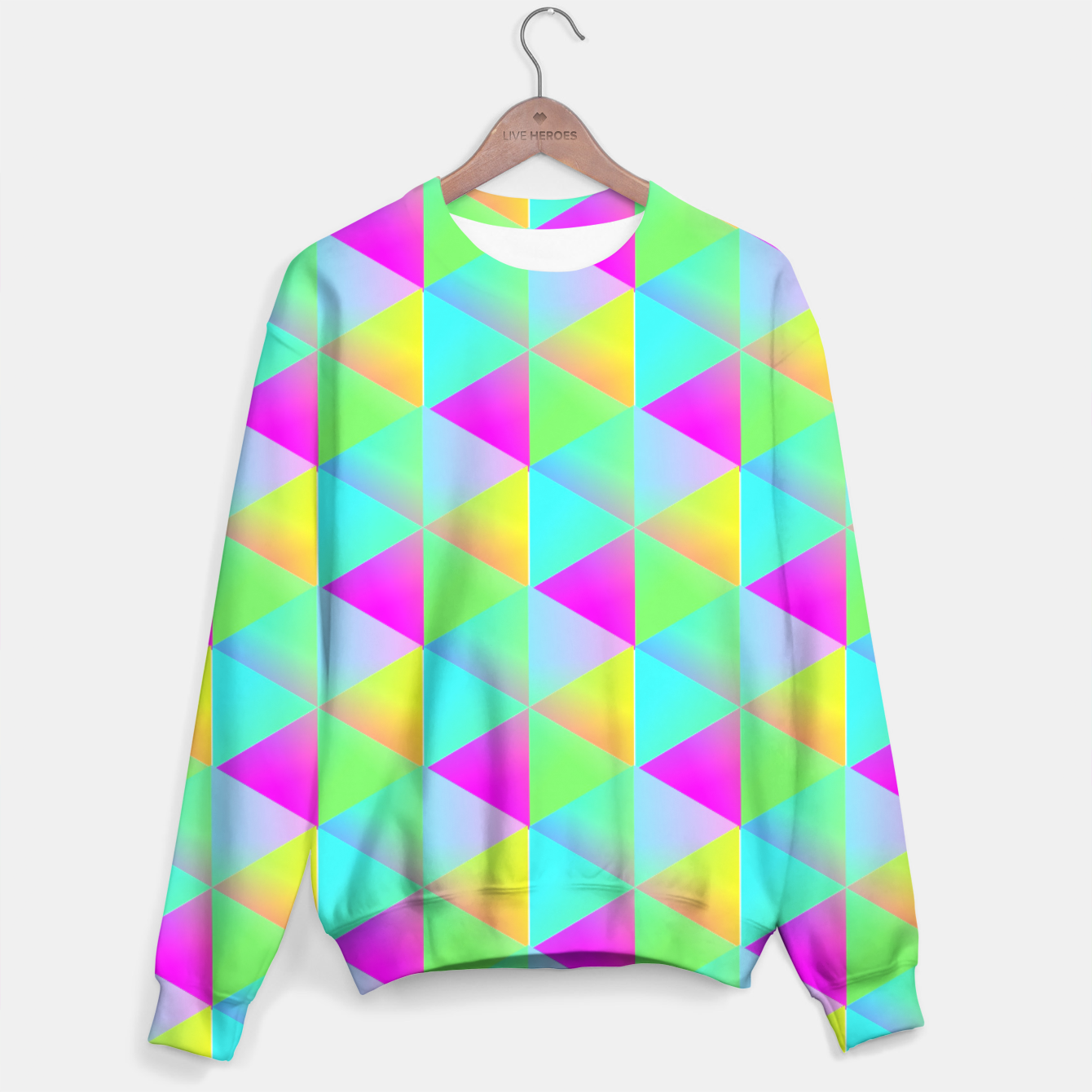 Image of Popping Rainbow Glow Geometric Print Sweater - Live Heroes