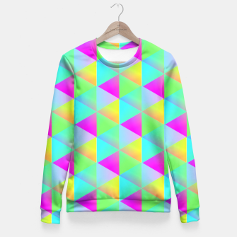 Thumbnail image of Popping Rainbow Glow Geometric Print Fitted Waist Sweater, Live Heroes