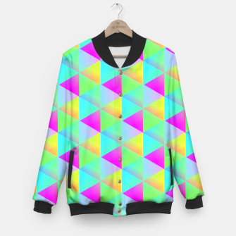 Thumbnail image of Popping Rainbow Glow Geometric Print Baseball Jacket, Live Heroes