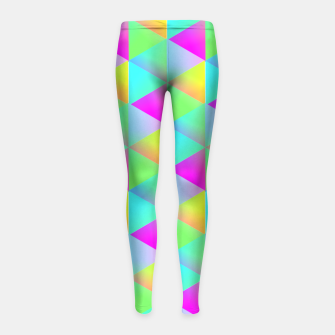 Thumbnail image of Popping Rainbow Glow Geometric Print Girl's Leggings, Live Heroes