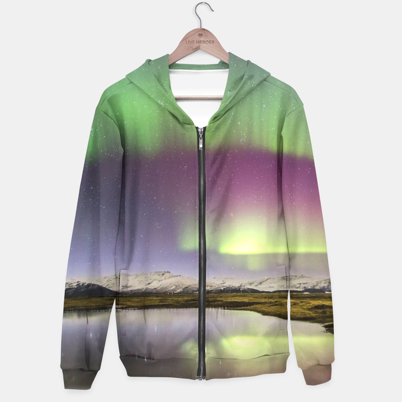 Image of Polar Light over mountains Hoodie - Live Heroes