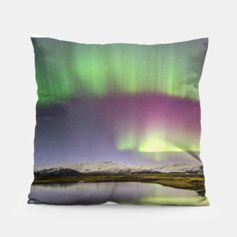 Thumbnail image of Polar Light over mountains Pillow, Live Heroes