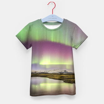 Polar Light over mountains Kid's T-shirt thumbnail image