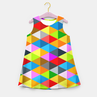 Miniaturka Modern bright funky colorful triangles pattern Girl's Summer Dress, Live Heroes