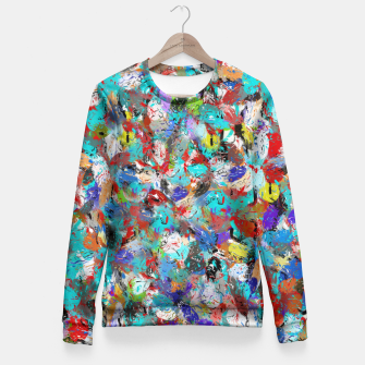 Miniatur Just Coloful Abstract Painting  Fitted Waist Sweater, Live Heroes