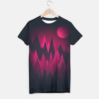 Dark Triangles (Peak Woods) Abstract Grunge Mountains Design (red/black) T-shirt miniature