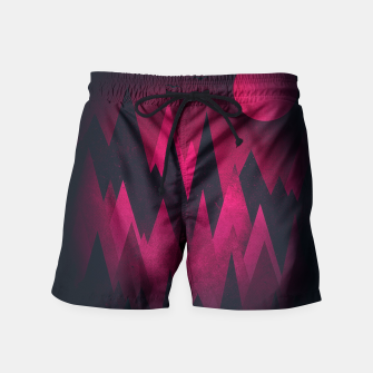 Thumbnail image of Dark Triangles (Peak Woods) Abstract Grunge Mountains Design (red/black) Swim Shorts, Live Heroes