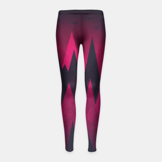 Thumbnail image of Dark Triangles (Peak Woods) Abstract Grunge Mountains Design (red/black) Girl's Leggings, Live Heroes