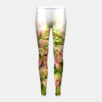 Thumbnail image of Dew on Leaves Watercolor  Girl's Leggings, Live Heroes
