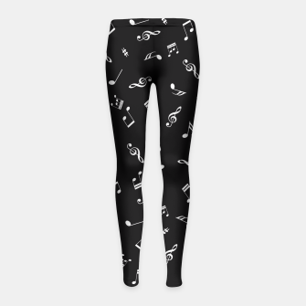 Miniatur Music Tones Black Girl's Leggings, Live Heroes