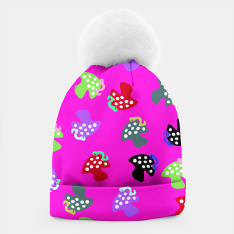 Thumbnail image of Mushroom & Worm Pink Beanie, Live Heroes