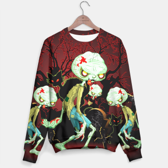 Thumbnail image of Zombie Creepy Monster Cartoon on Cemetery Sweater, Live Heroes
