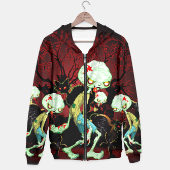 Thumbnail image of Zombie Creepy Monster Cartoon on Cemetery Hoodie, Live Heroes