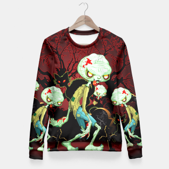 Thumbnail image of Zombie Creepy Monster Cartoon on Cemetery Fitted Waist Sweater, Live Heroes