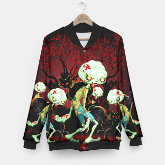 Thumbnail image of Zombie Creepy Monster Cartoon on Cemetery Baseball Jacket, Live Heroes