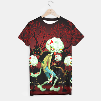 Thumbnail image of Zombie Creepy Monster Cartoon on Cemetery T-shirt, Live Heroes