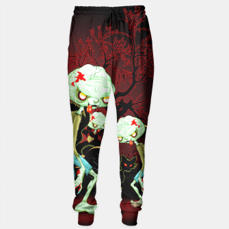 Thumbnail image of Zombie Creepy Monster Cartoon on Cemetery Sweatpants, Live Heroes
