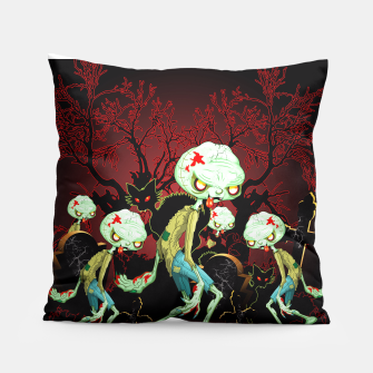 Thumbnail image of Zombie Creepy Monster Cartoon on Cemetery Pillow, Live Heroes