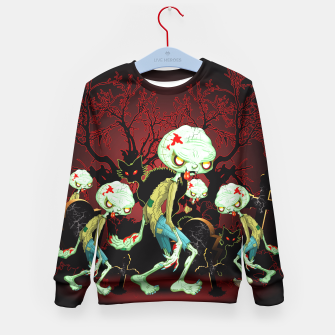 Thumbnail image of Zombie Creepy Monster Cartoon on Cemetery Kid's Sweater, Live Heroes