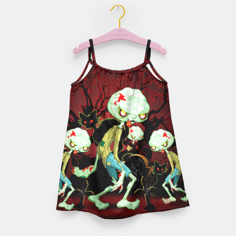 Thumbnail image of Zombie Creepy Monster Cartoon on Cemetery Girl's Dress, Live Heroes