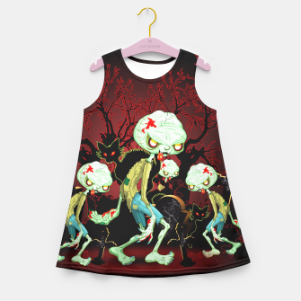 Thumbnail image of Zombie Creepy Monster Cartoon on Cemetery Girl's Summer Dress, Live Heroes