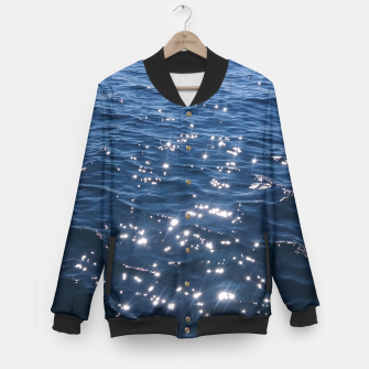 Sparkly Deep Blue Sea Waves Baseball Jacket thumbnail image