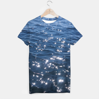 Sparkly Deep Blue Sea Waves T-shirt thumbnail image
