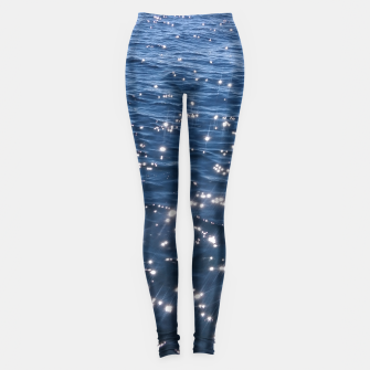 Sparkly Deep Blue Sea Waves Leggings thumbnail image