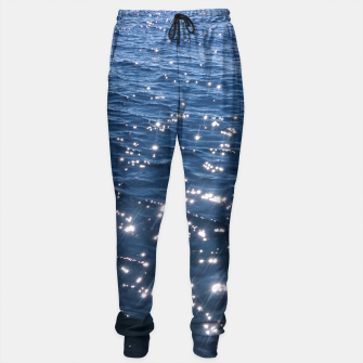 Sparkly Deep Blue Sea Waves Sweatpants thumbnail image