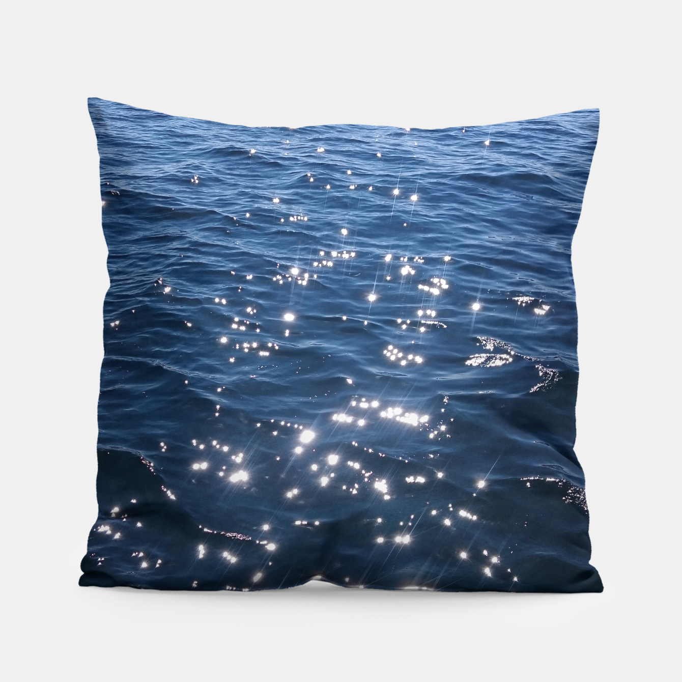 Image of Sparkly Deep Blue Sea Waves Pillow - Live Heroes