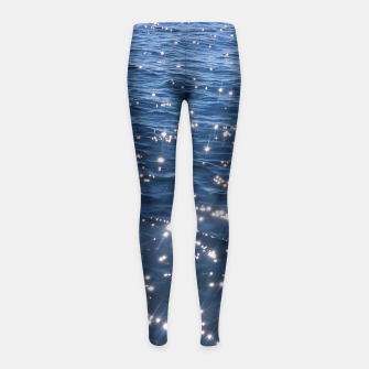 Sparkly Deep Blue Sea Waves Girl's Leggings thumbnail image