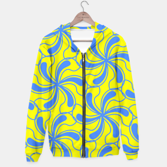 Thumbnail image of Yellow Blue Swirly Abstract Pattern  Hoodie, Live Heroes