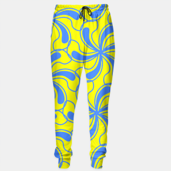 Thumbnail image of Yellow Blue Swirly Abstract Pattern  Sweatpants, Live Heroes
