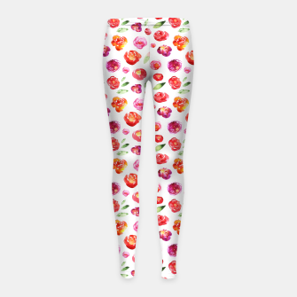 Miniatur Watercolor flowers Girl's Leggings, Live Heroes