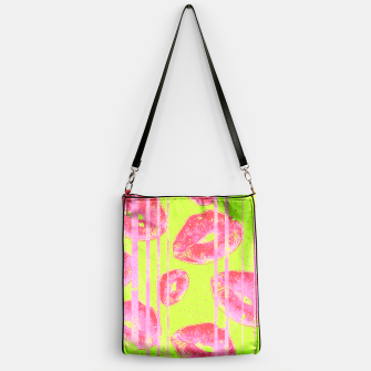 Thumbnail image of Neon Green Pink Lips  Handbag, Live Heroes