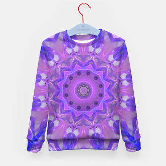 Thumbnail image of Abstract Plum Ice Crystal Palace Lattice Lace Mandala Kid's Sweater, Live Heroes