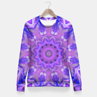 Thumbnail image of Abstract Plum Ice Crystal Palace Lattice Lace Mandala Fitted Waist Sweater, Live Heroes