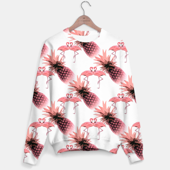Thumbnail image of Pink Flamingos Pineapples Tropical Fruit Pattern Sweater, Live Heroes